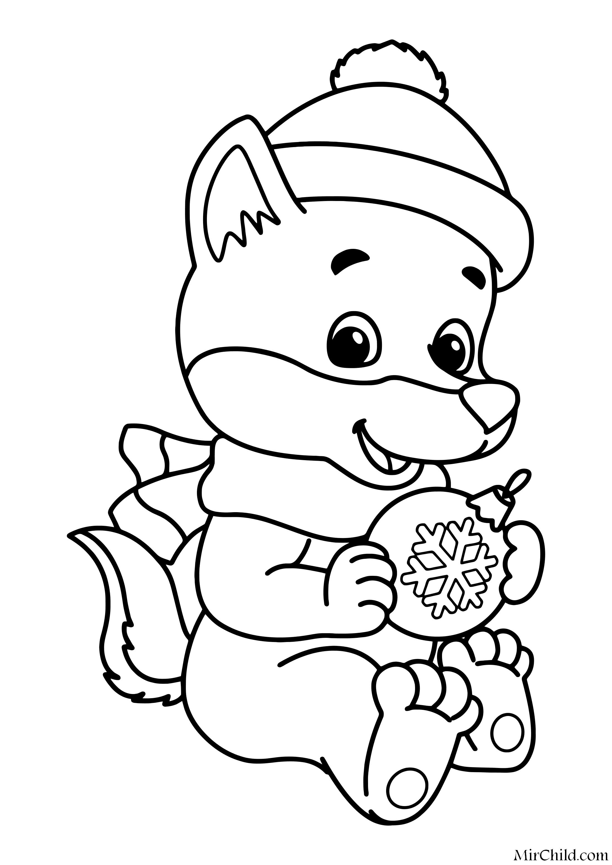 Раскраска - Новый год - Волчонок с ёлочной игрушкой | MirChild