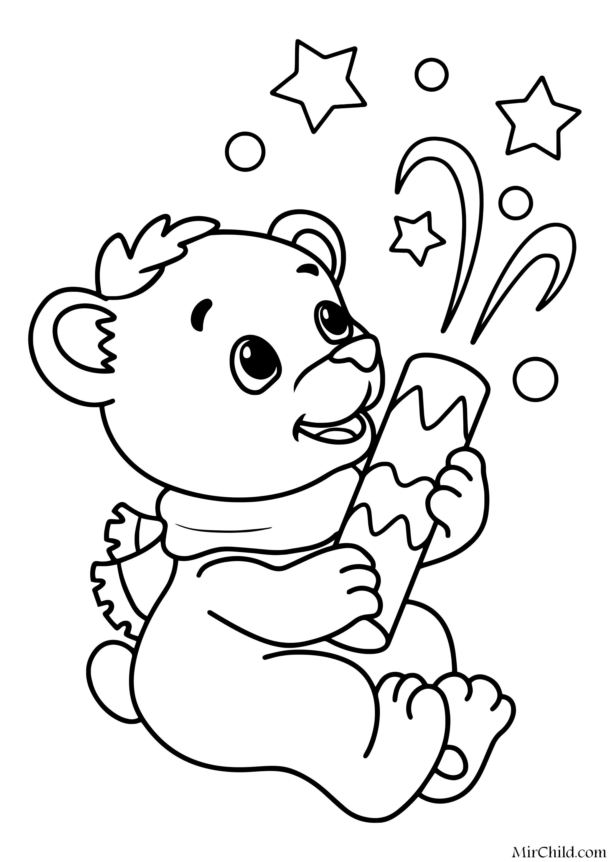 Раскраска - Новый год - Мишка хлопнул хлопушку | MirChild