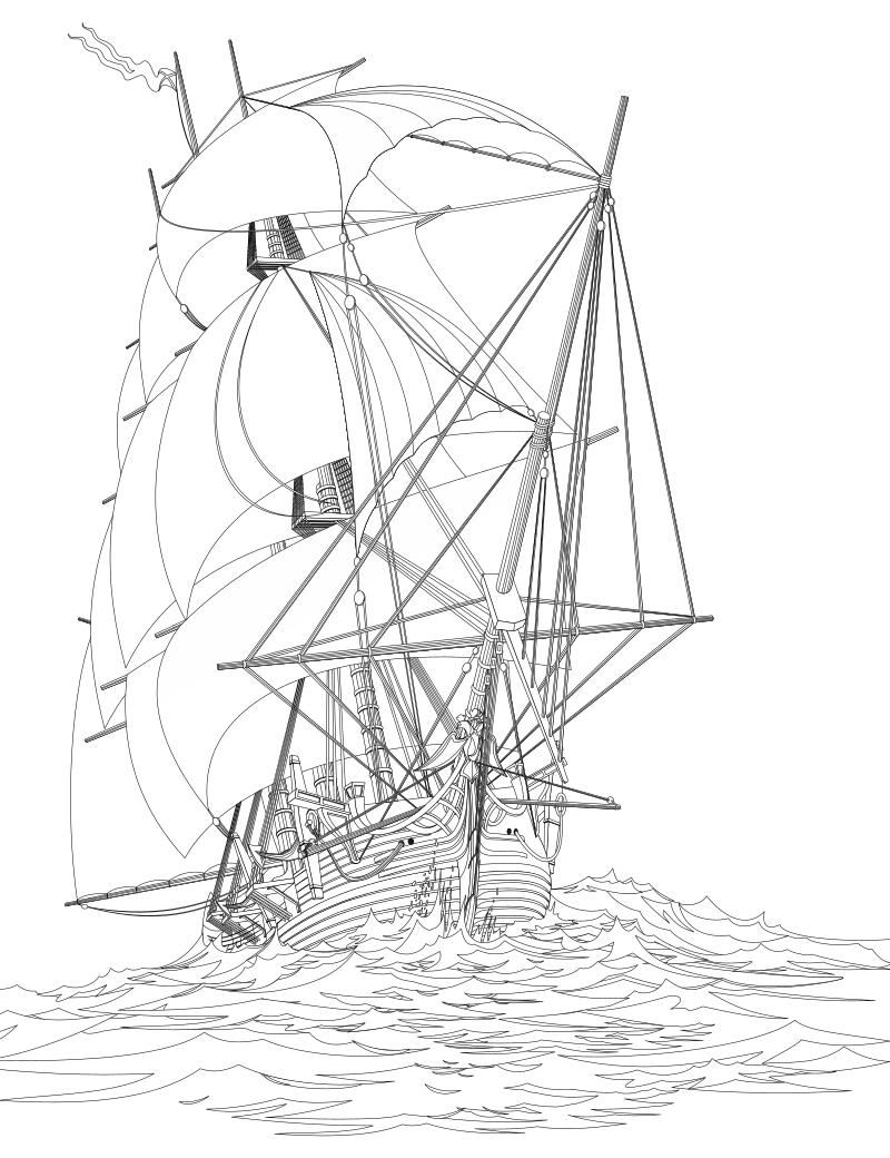 Раскраска - Парусники - Парусный корабль | MirChild