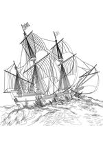 Раскраска - Парусники - Парусник на волнах