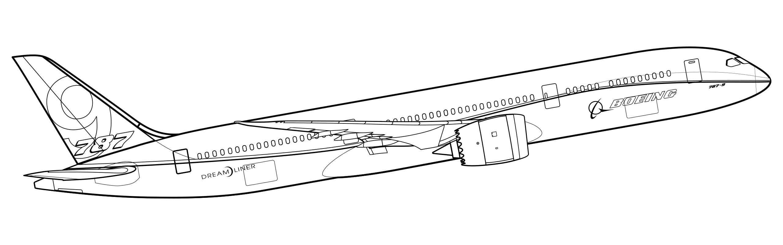 Раскраска Boeing 787-9 Dreamliner