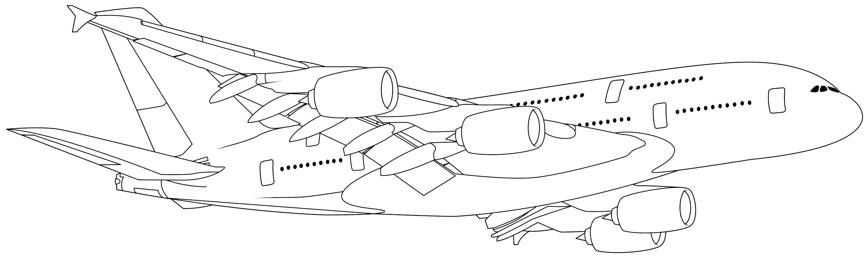 раскраска самолеты Airbus A380 Mirchild