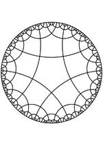 Раскраска - Математические фигуры - Пятиугольники на плоскости Лобачевского