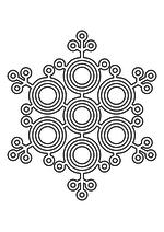 Раскраска - Снежинки - Ажурная снежинка из кругов 4