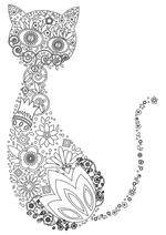 Раскраска - Узорные картинки - Узорный кот