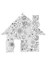 Раскраска - Узорные картинки - Узорный дом