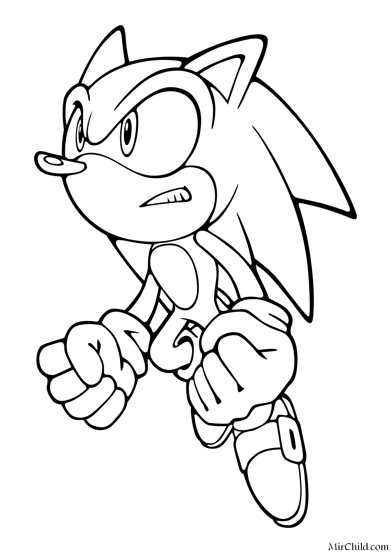 Раскраска - Sonic the Hedgehog - Ёж Соник в прыжке | MirChild