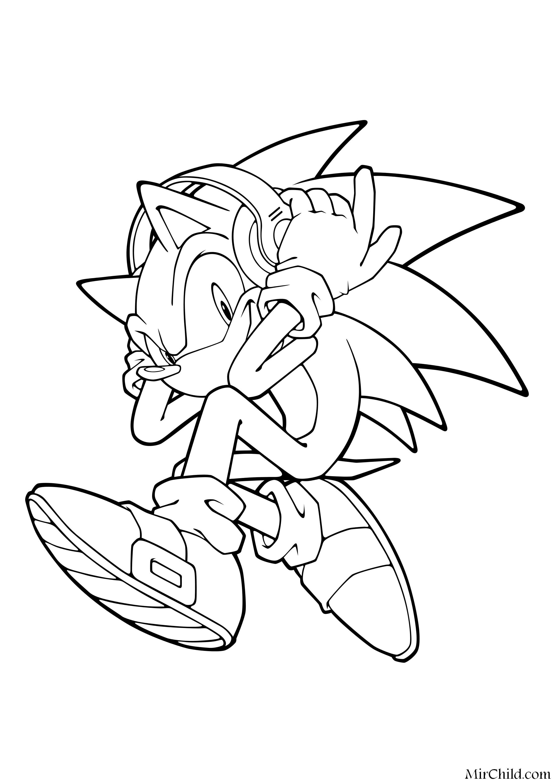 Раскраска - Sonic the Hedgehog - Ёж Соник в наушниках ...