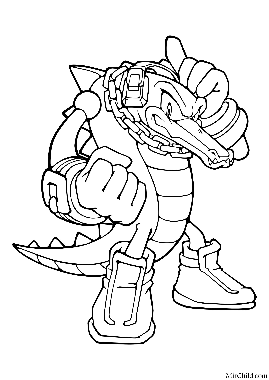 Раскраска - Sonic the Hedgehog - Крокодил Вектор | MirChild