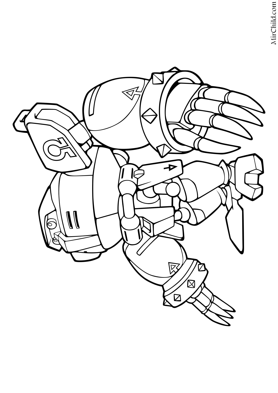 Раскраска - Sonic the Hedgehog - Робот Е-123 Омега   MirChild
