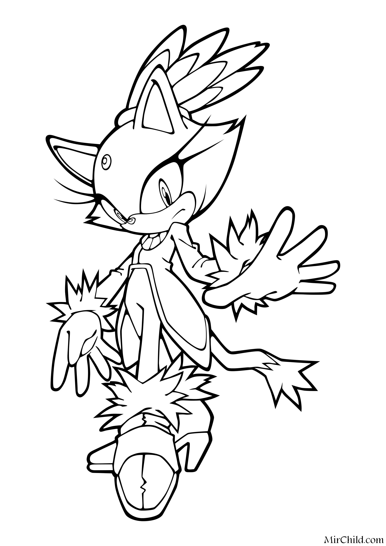 Раскраска - Sonic the Hedgehog - Кошка Блейз | MirChild