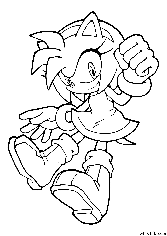 Раскраска - Sonic the Hedgehog - Розовая ежиха Эми Роуз ...