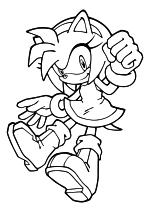 Раскраска - Sonic the Hedgehog - Розовая ежиха Эми Роуз