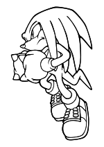 Раскраска - Sonic the Hedgehog - Ехидна Наклз готов к атаке