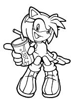 Раскраска - Sonic the Hedgehog - Эми Роуз с баночкой сока