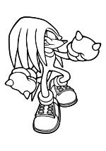 Раскраска - Sonic the Hedgehog - Ехидна Наклз может разбивать камни
