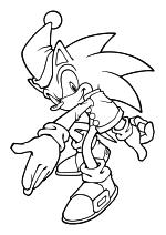 Раскраска - Sonic the Hedgehog - Ёж Соник в новогоднем колпаке