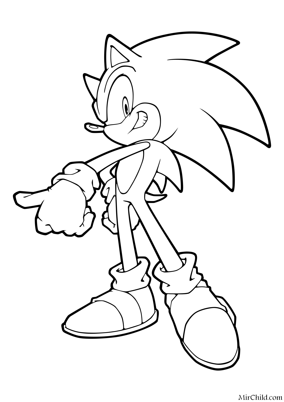 Раскраска - Sonic the Hedgehog - Ёж Соник готов к битве ...