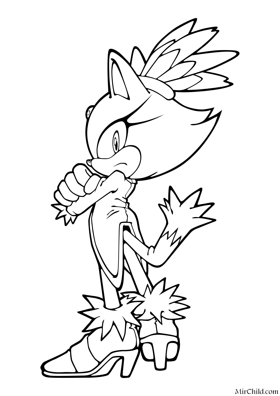 Раскраска - Sonic the Hedgehog - Нахмуренная Блейз | MirChild