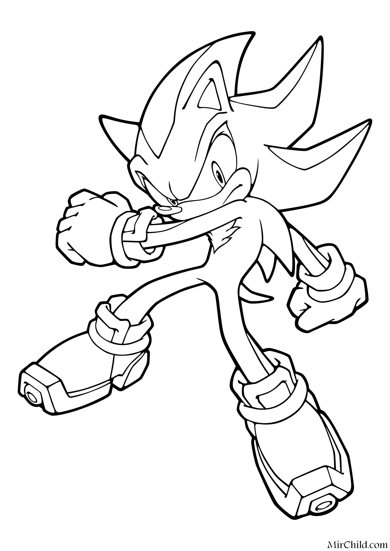 Раскраска - Sonic the Hedgehog - Ёж Шэдоу - серьёзен и ...