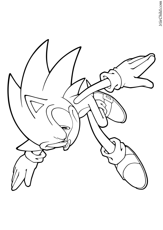 Раскраска - Sonic the Hedgehog - Серьёзный Ёж Соник | MirChild