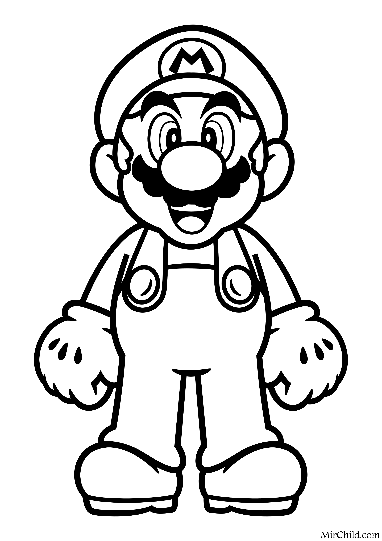 Раскраска - Супер Марио - Марио | MirChild