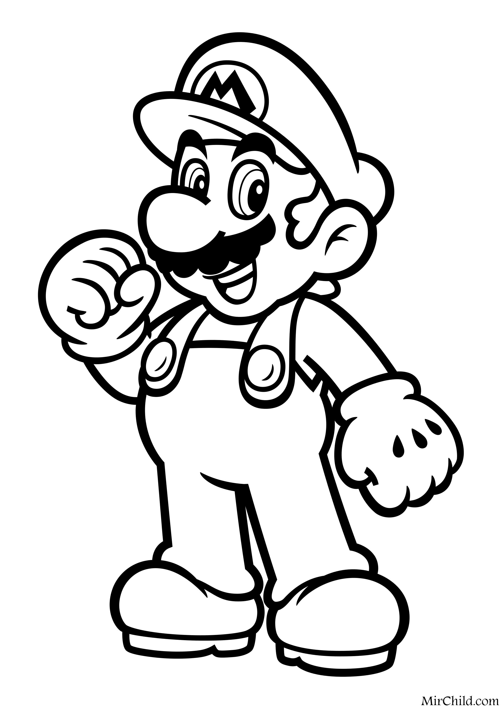 Раскраска - Супер Марио - Весёлый Марио | MirChild