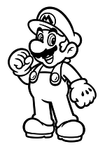Раскраска - Супер Марио - Весёлый Марио