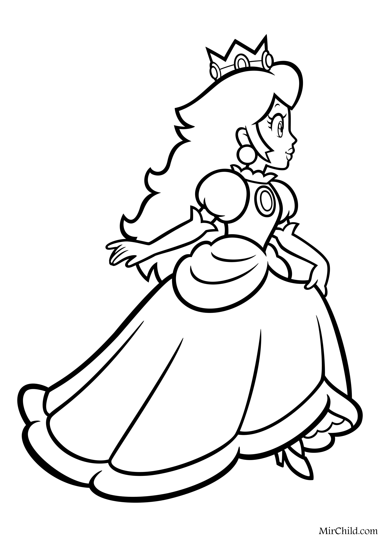 раскраска супер марио принцесса пич бежит Mirchild