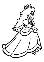 Раскраска - Супер Марио - Принцесса Пич бежит