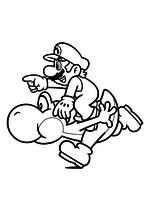 Раскраска - Супер Марио - Марио верхом на Йоши
