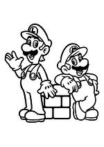 Раскраска - Супер Марио - Луиджи и Марио