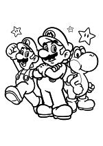 Раскраска - Супер Марио - Луиджи, Марио и Йоши