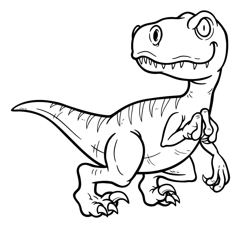Раскраска - Динозавры - Велоцираптор | MirChild