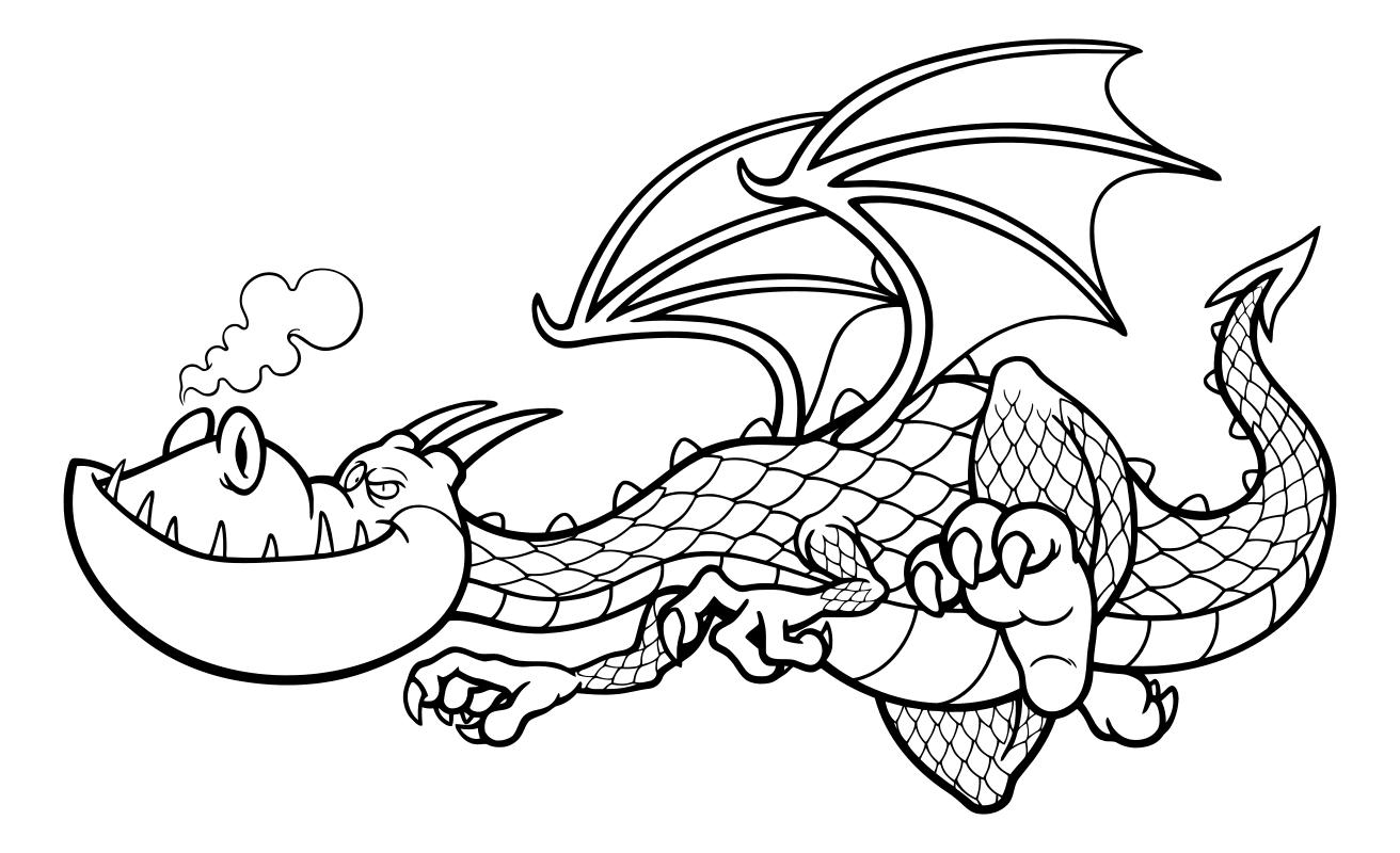 Раскраска - Динозавры - Летящий дракон | MirChild