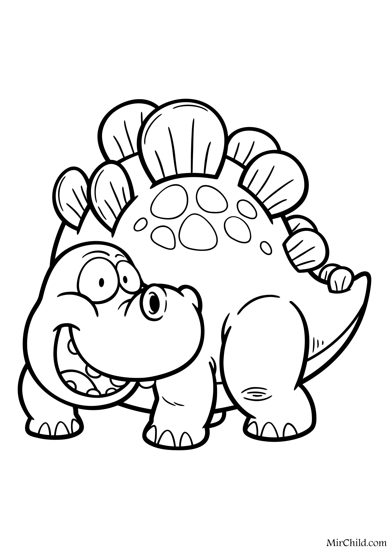 Раскраска - Динозавры - Улыбчивый стегозавр | MirChild