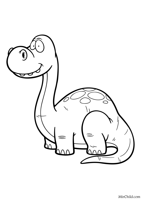 Раскраска - Динозавры - Малыш апатозавр | MirChild