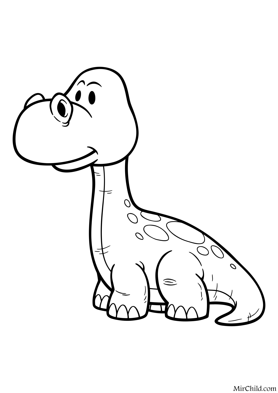 Раскраска - Динозавры - Детёныш апатозавра | MirChild