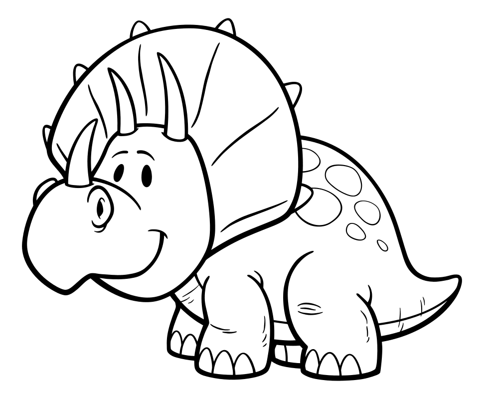 Раскраска - Динозавры - Маленький трицератопс | MirChild