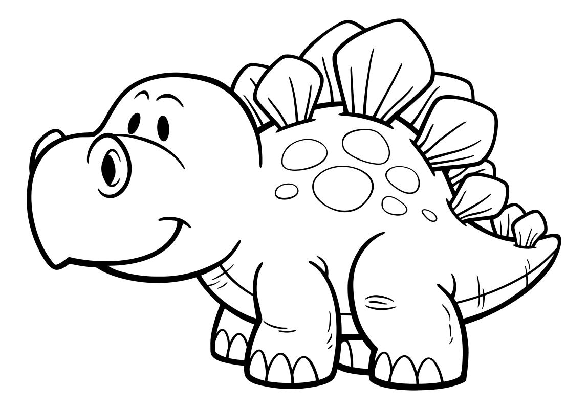 Раскраска - Динозавры - Стегозаврик | MirChild