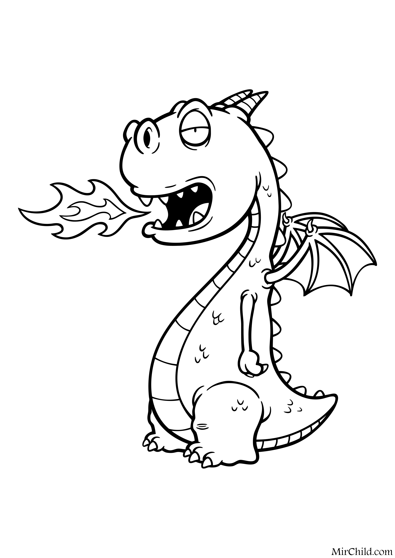 Раскраска - Динозавры - Детёныш дракона | MirChild