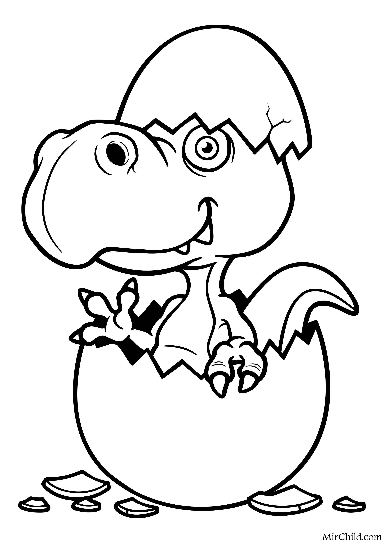 Раскраска - Динозавры - Динозаврик вылупился из яйца ...