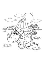 Раскраска - Динозавры - Динозавр на природе