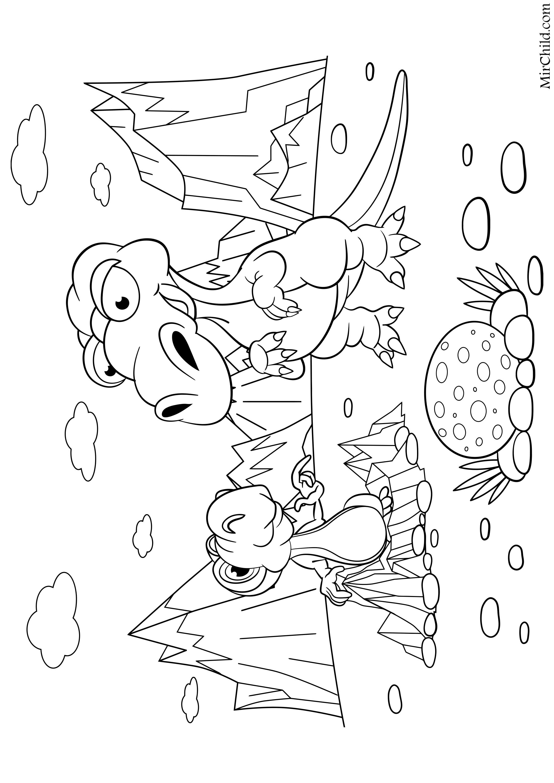 Раскраска - Динозавры - Динозавры взрослый и детёныш ...