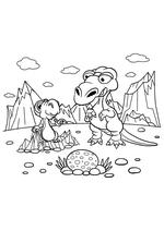 Раскраска - Динозавры - Динозавры взрослый и детёныш