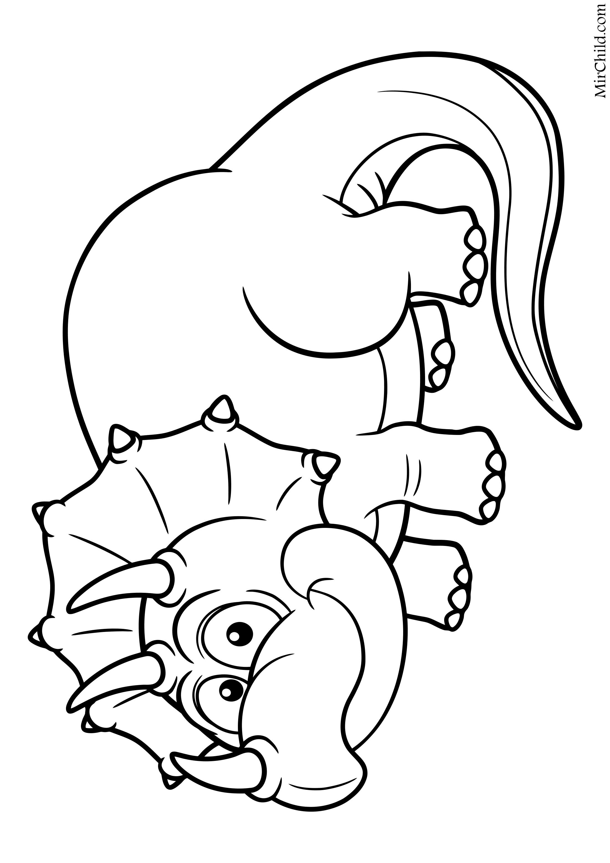 Раскраска - Динозавры - Трицератопс | MirChild