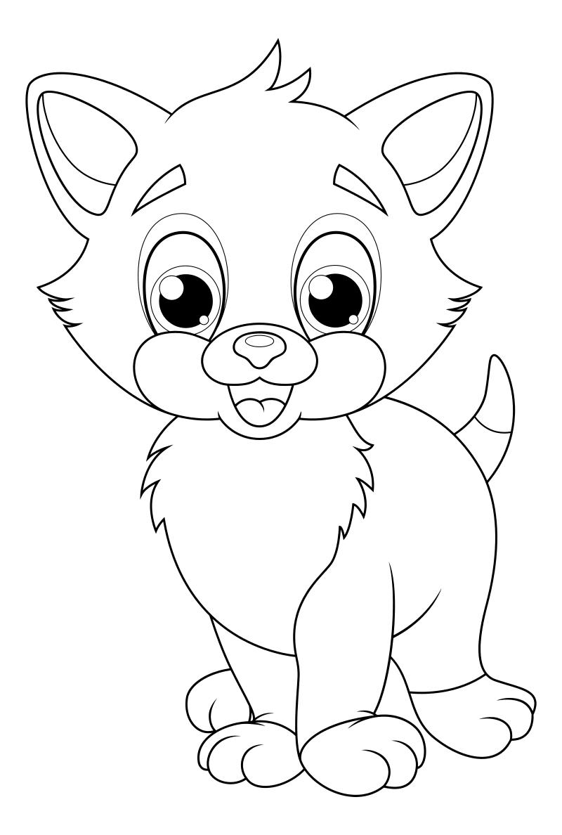 Раскраска - Кошки - Рыжий котёнок